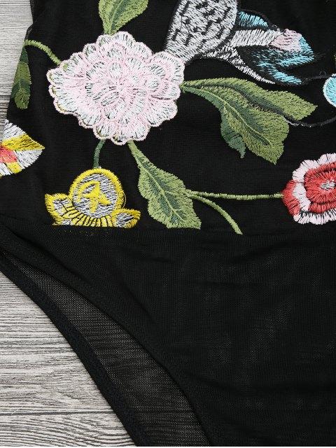 latest Floral Embroidered Sheer Mesh Bodysuit Teddy - BLACK M Mobile