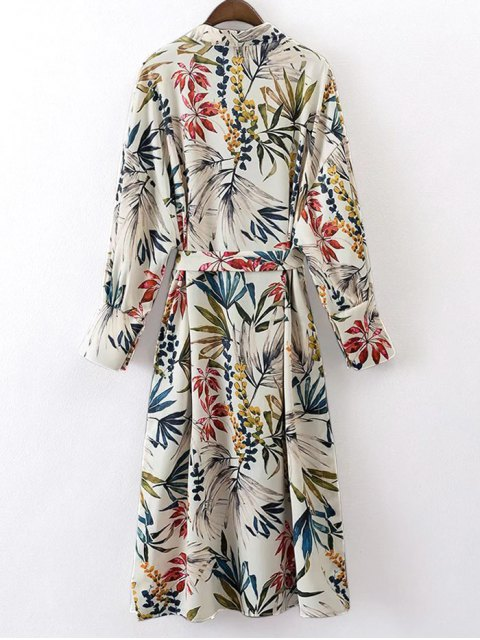 womens Belted Floral Kimono Blouse - FLORAL L Mobile