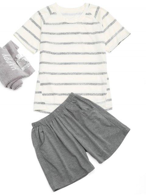 chic Raglan Sleeve Striped T-Shirt And Pocket Shorts - OFF-WHITE L Mobile