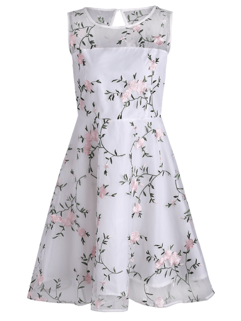 ladies Floral Patched Sleeveless Organza Dress - WHITE L Mobile