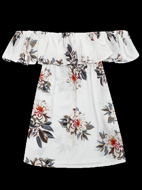 shops Floral Print Flounce Hem Shift Dress - WHITE L Mobile