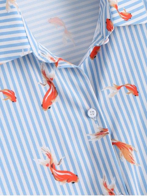 lady Goldfish Print Striped Button Up Shirt - STRIPE L Mobile