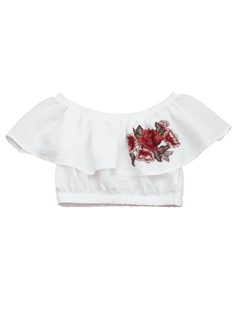 online Floral Patched Flounce Crop Blouse - WHITE XL Mobile