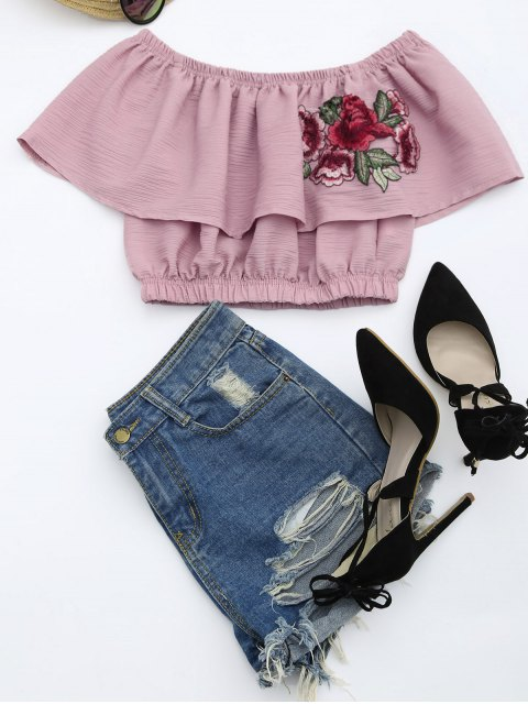 outfits Floral Patched Flounce Crop Blouse - PALE PINKISH GREY S Mobile