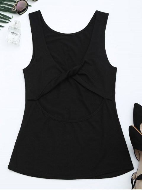 shop Cut Out Twist Back Tank Top - BLACK XL Mobile
