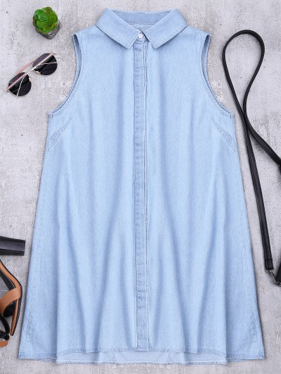 Zaful Sleeveless Denim Shift Shirt Dress