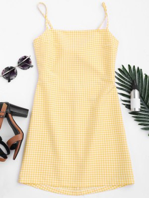Checked Bowknot Cut Out Mini Dress - Checked S