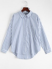 Bowknot Stripes Shirt with Pocket