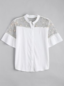 Voile Panel Embroidered Ruffles Top
