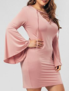 Flare Sleeve Plus Size Lace Up Bodycon Dress - Pink 5xl