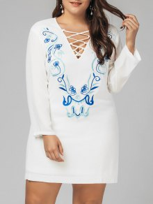 Plus Size Criss Cross Embroidered Dress - White 2xl