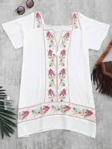 Embroidered Beach Tunic Dress Cover Up - White S