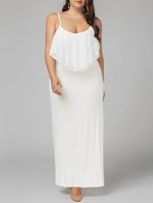 Plus Size Lace Panel Ruffles Prom Dress - White 2xl
