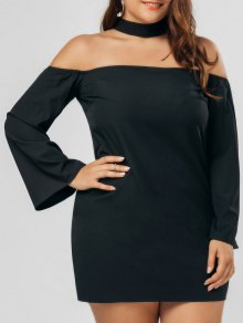 Plus Size Zipper Choker Chiffon Dress - Black 5xl