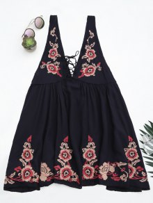 Embroidered Tank Dress Beach Cover Up - Purplish Blue L