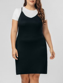 Top Panel Two Tone Plus Size Dress