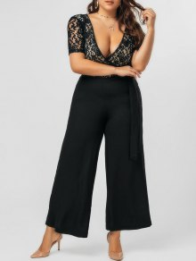 Plus Size Bowknot Lace Panel Jumpsuit