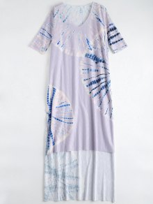 Tie Dye Beach Long Dress Cover Up - Purple M