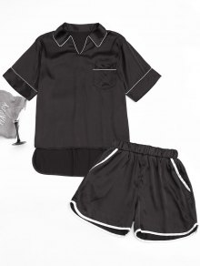 High Low Satin Top with Piping Shorts