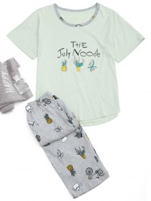 Loungewear Cartoon Print T-Shirt And Capri Pants