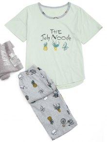 Loungewear Cartoon Print T-Shirt And Capri Pants