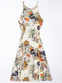 Floral Leaves Print High Slit Maxi Dress - Floral S