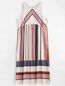 Round Collar Striped Sleeveless Dress - Multi Xl
