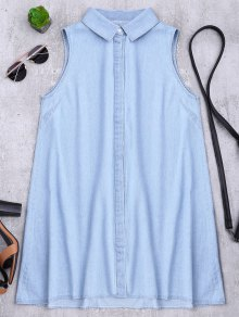 Sleeveless Denim Shift Shirt Dress - Light Blue M