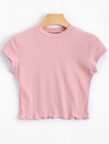 Ruffled Cropped Ribbed Top - Pink S