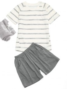 Raglan Sleeve Striped T-Shirt And Pocket Shorts