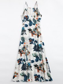 Leaves Print Slit Cami Maxi Dress - Multi M