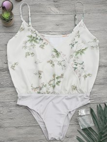 Floral Print Crossover Button Cami Bodysuit