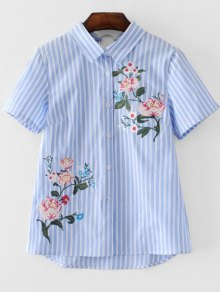 Short Sleeve Stripes Floral Embroidered Shirt