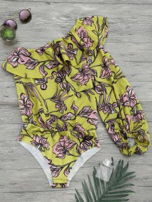 Floral Print Ruffle One Shoulder Bodysuit - Yellow M