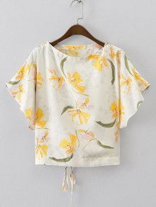 Batwing Floral Lace Up Top