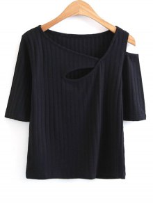Knitted Cut Out Cold Shoulder Top