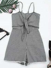 Self Tie Front Cami Checked Romper - Checked S