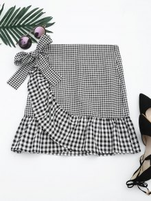 Ruffle Hem Belted Checked Skirt