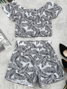 Leaves Print Top and Shorts Set