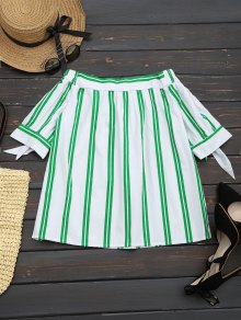 Off The Shoulder Striped Blouse - White L