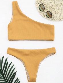 Ribbed Texture One Shoulder Bikini - Earthy S