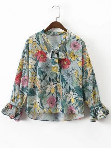 Bow Tie Floral Button Up Blouse