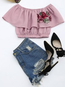 Floral Patched Flounce Crop Blouse - Pale Pinkish Grey M