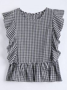 Ruffle Hem Checked Blouse
