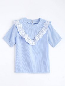 Lace Panel Ruffle Hem Striped Blouse