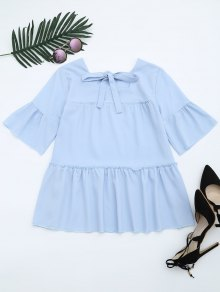 Flare Sleeve Ruffle Trim Bowtie Blouse - Light Blue