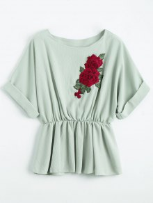 Floral Patched Boat Neck Blouse - Pale Green