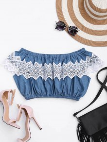 Lace Panel Off Shoulder Cropped Top - Denim Blue L