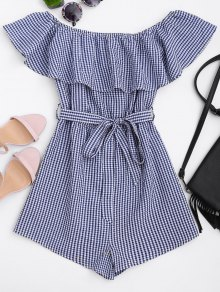 Ruffles Belted Off Shoulder Romper - Checked L