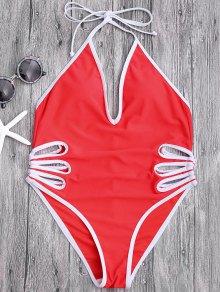 Halter Cut Out High Leg Swimwear - Red L